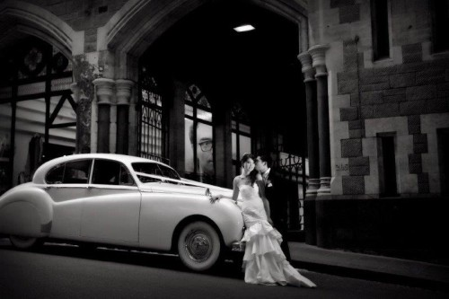 White classic jag wedding cars melbourne