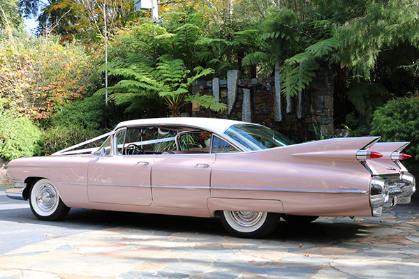 pink wedding car hire